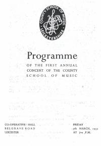 LSSO - Programme Covers - 1952